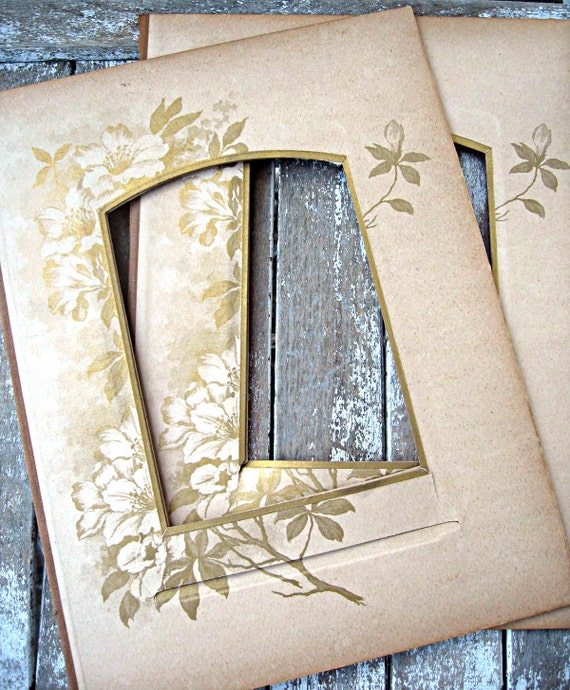 Antique victorian photo album pages, gorgeous flowers, altered art supply, set of 2