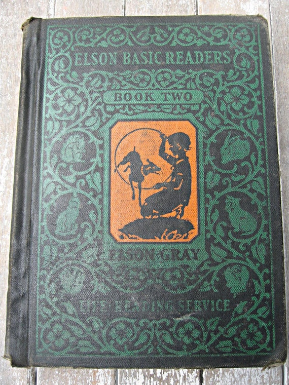 Vintage book, children's Elson Basic Reader Book Two, beautifully illustrated in color