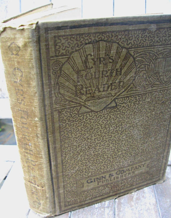 Antique child's book, Cyr's Fourth Reader by Ginn & Company, 1901 school primer, antique school book, illustrated primer, early school book