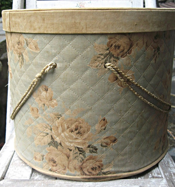 Reserved for Nancy......Vintage sewing box with roses, shabby chic, faded, very large