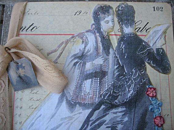 Altered composition book, vintage style, OOAK, vintage ledger pages and wallpaper
