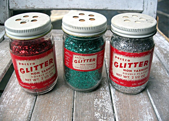 Vintage bottles of glitter, unopened, Pactra brand, lot of 3