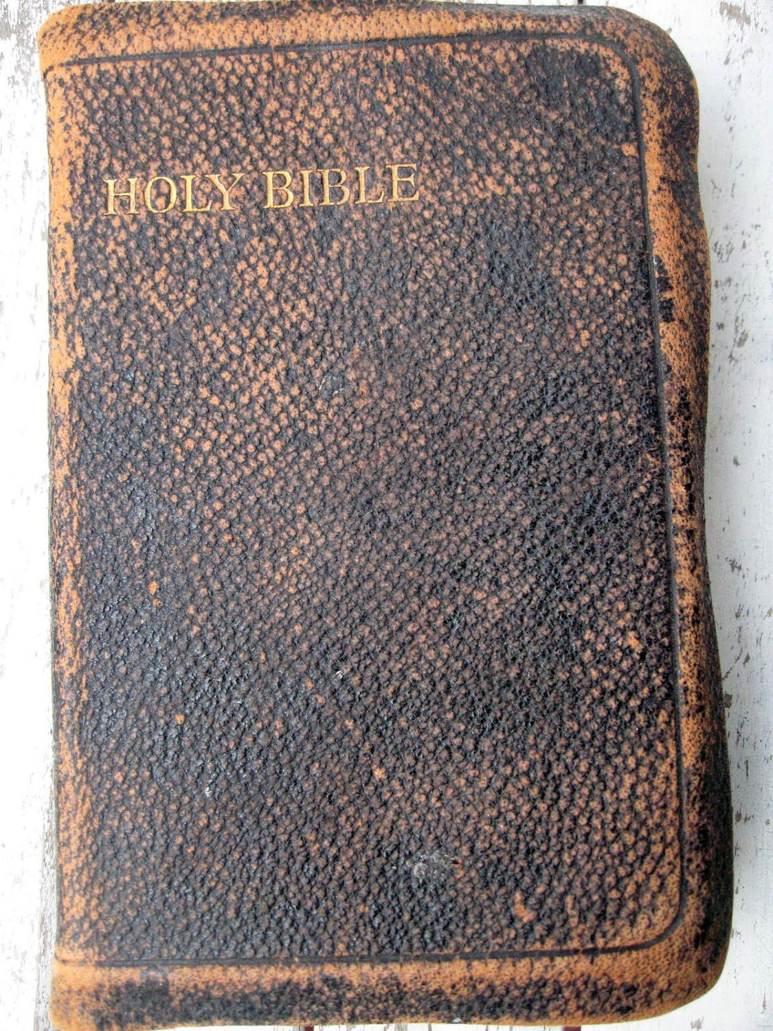 Antique Bible With Leather Cover 1900 S England