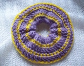 Lilac and Yellow Crochet Scrunchie