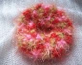 Sparkly Pink Crochet Scrunchie