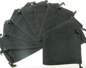 3x4 Plain Black Velour Bags - 10 PCK