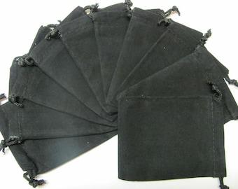3x4 Plain Black Velour Bags - 10 PCK