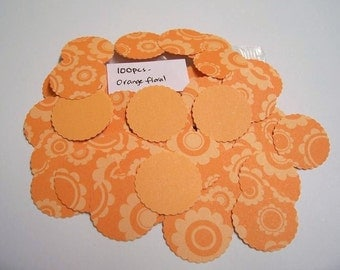 Orange Flower Hand Punch Circles 100 PCS For Scrapbooking and Card making