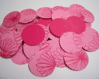 Pink Flower Hand Punch Circles 100 Pcs, For Cards, scrapbooking and more