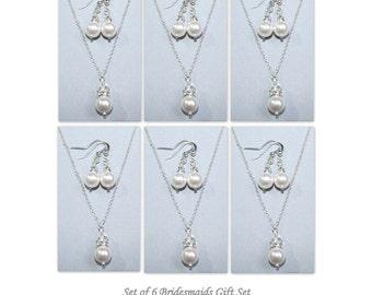 Bridesmaid Jewelry Set of 6,  Bridesmaid Gift, Swarovski Jewelry, Bridal Party Gift, Wedding Jewelry Set, Bridesmaid