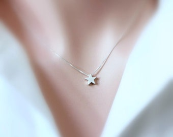 Silver Star Necklace, Silver Star Pendant on Sterling Silver Necklace Chain, Personalized Bridesmaid Necklace, Star Necklace, Gift for Her