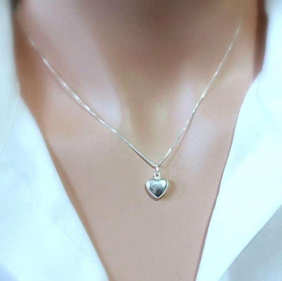 Simple Silver Heart Pendant Necklace, Sterling Silver Heart Pendant on Fine Sterling Silver Necklace Chain