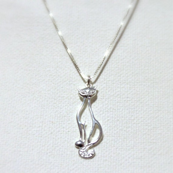 Cat Pendant Necklace, Sterling Silver Cat Pendant on Sterling Silver Necklace Chain