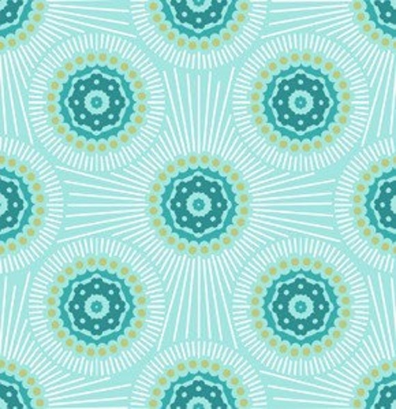 Innocent Crush Cotton Quilting Fabric by Anna Maria Horner, Bubble Burst in Turquoise, 1 yard