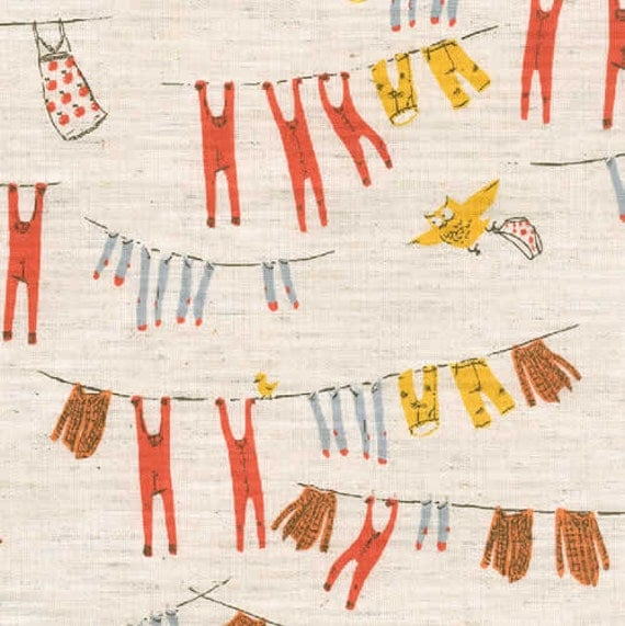Clothesline in Yellow by Heather Ross, Far Far Away III, Cotton/Linen, 1/2 yard