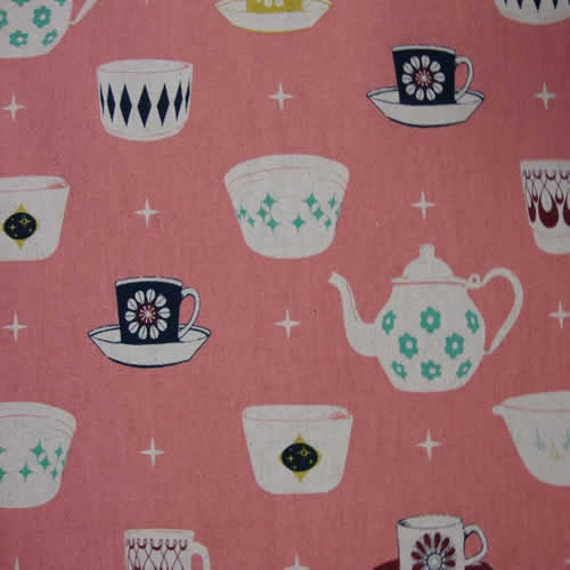 Tea Cups in Pink by Melody Miller, Ruby Star Rising, Cotton/Linen Fabric, 1 yard