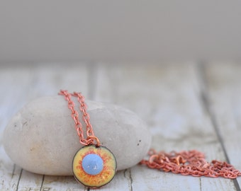 Enamel on Copper Yellow Circle Sun Pendant Necklace