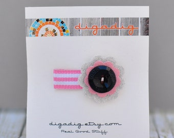 Fun Funky Vinyl  Pink, Black, & Silver Flower Snap Hair Clip