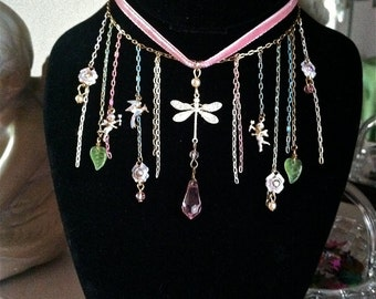 DragonFly Enchanted Forest Fairy Tale Princess AB Crystal Necklace