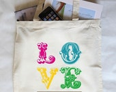 Custom Wedding Canvas Love Tote Bags