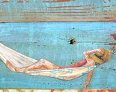 ART PRINT, beach art, relaxation, hammock, print, beach decor, wall art, wall print,painting,mixed media,coastal art, summer gift, All Sizes