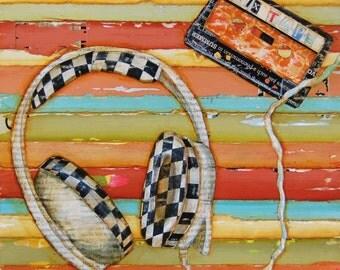 ART PRINT, Headphones cassette tape checkerboard 1980's music gift college gift teenager decor, All Sizes