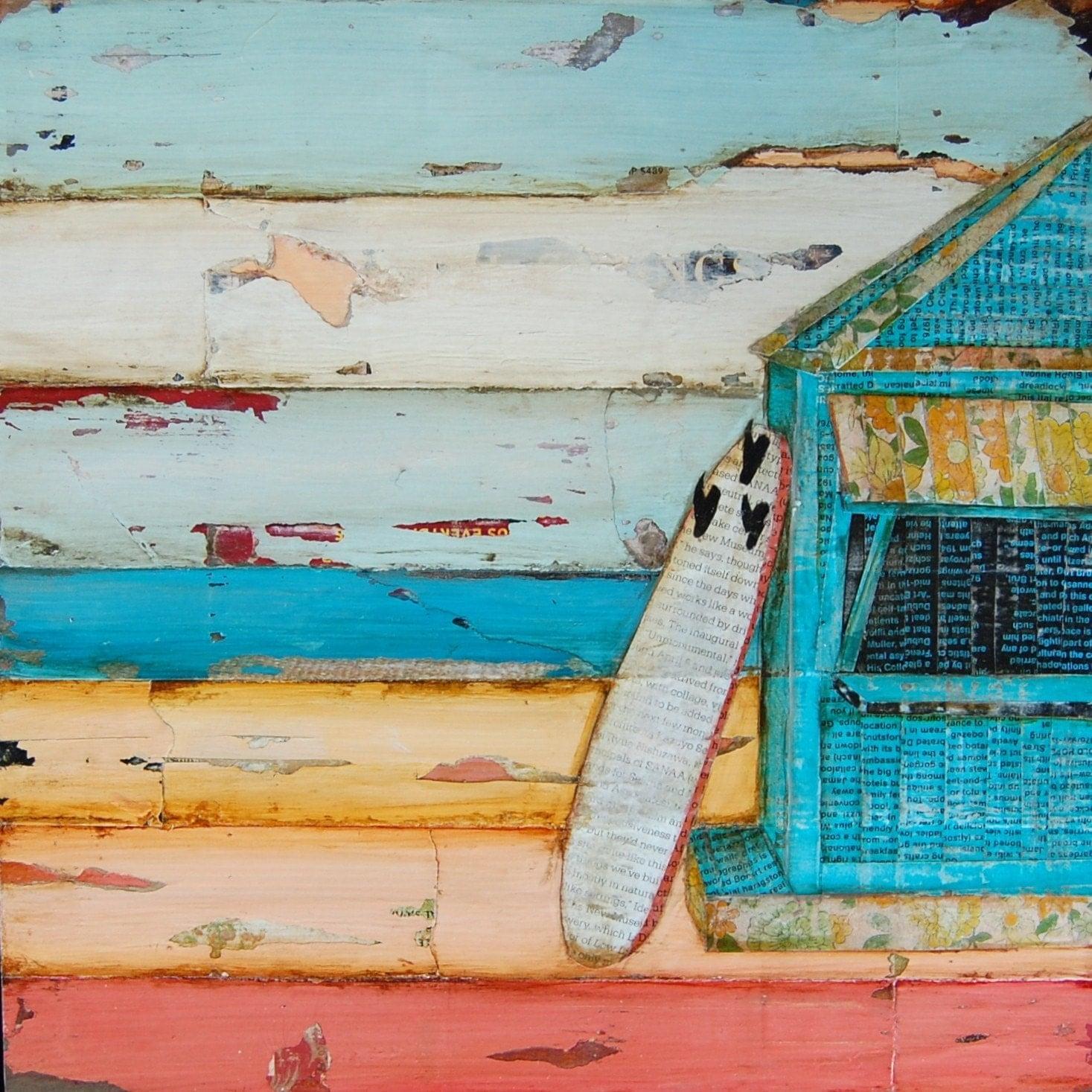 BEACH ART PRINT Or Canvas Surfboard Beach Shack Ocean Decor