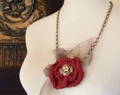 Knitted Red Rose Necklace