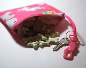 Pink reusable dog treat bag Leash bag and key ring