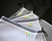 Produce bag set Tuxedo bag white with black closure