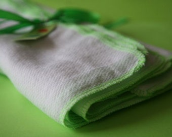 12 Lg Lime Reusable Napkins birdseye unpaper alternative
