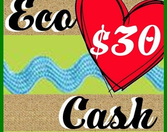 30 Eco Cash Gift Certificate Great gift eco friendly