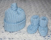 Blue cap and booties