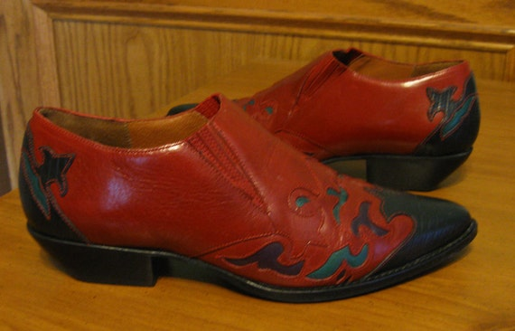 Vintage Red Leather Western Ankle Booties size 8.5