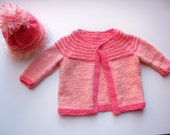Coral and Peach Striped Raglan Baby Cardigan and Hat Set