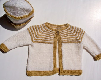 Gold/Cream  striped Cardigan and Hat