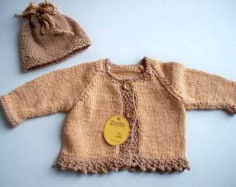 Soft Gold w/taupe trim Cardigan and hat