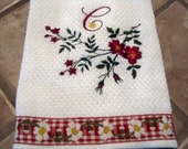 Tea Towel Cotton Embroidered Monogram 18x28