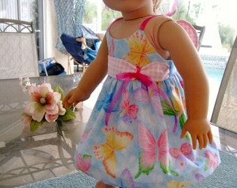 Sun Dress with Butterflies for 18 Inch Doll by Bon Jean Creations