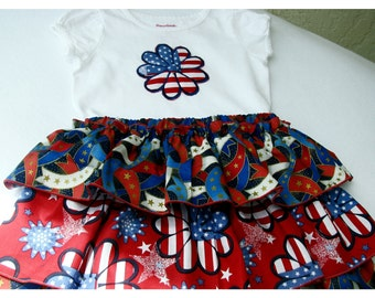 Patriotic Girls Ruffled Skirt and Applique Top  Size 1 to 2