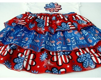 Fourth of July Girls Ruffled Skirt and Applique Top Patriotic Size 3 to 4