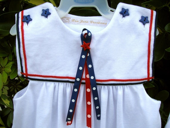 Baby Dress with Bloomers Red White and Blue Cotton Knit