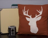 STAG DEER - Burnt Orange and Cream Recycled Felt Applique Pillow cover 14 x 14