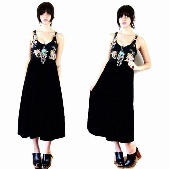 vintage black velvet maxi high waisted skirt
