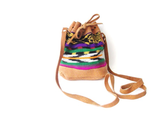 Vintage Leather and Needlepoint Tribal Long Drawstring Purse