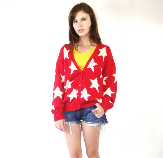 Vintage Red Star Knit Chunky Knit Cardigan