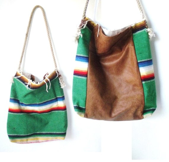 Vintage Leather and Mexican Blanket Large Purse Tote