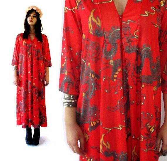 Vintage 70s Red Dragon Maxi Kimono Caftan Dress