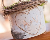 Rustic Birch Bark Flower Girl Basket - Personalized