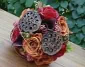 Bridal Bouquet - Autumn Fall  Rose and Calla Wedding Bouquet